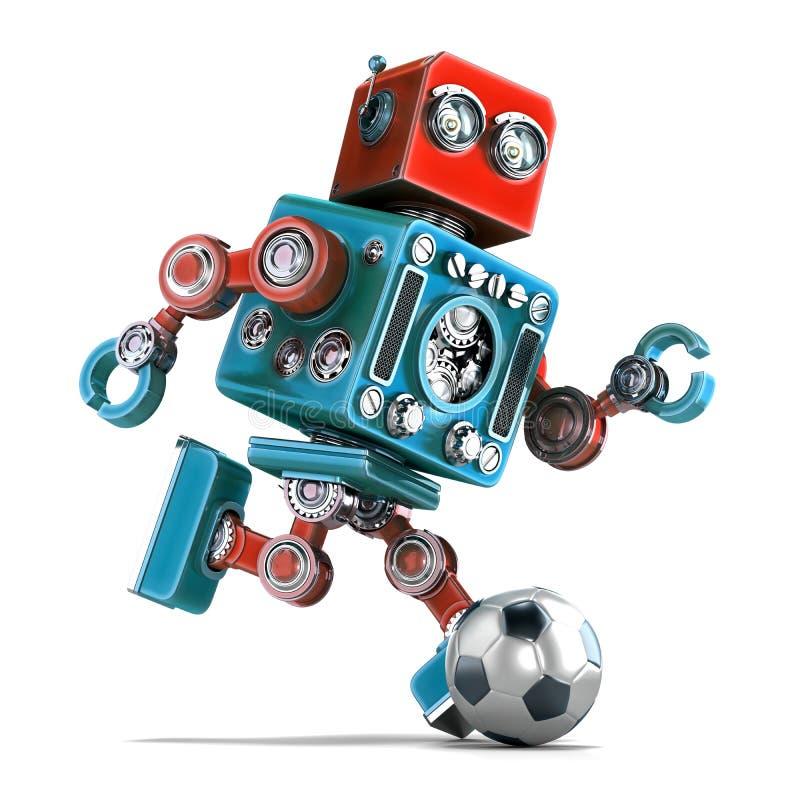 Ретро робот играя футбол изолировано Содержит путь клиппирования иллюстрация штока