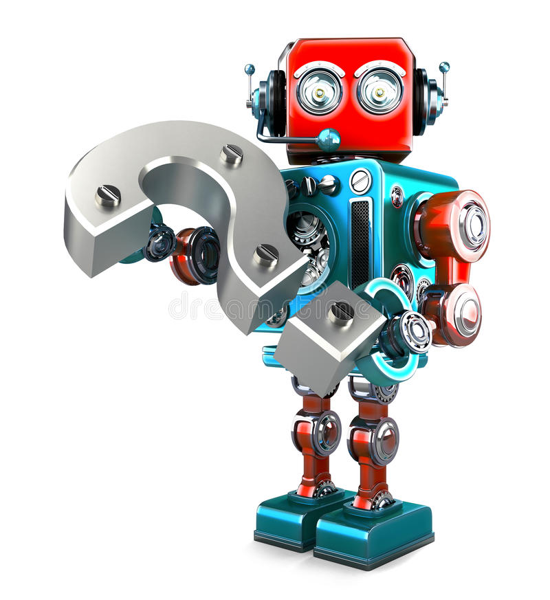 Ретро робот с вопросительным знаком Содержит путь клиппирования иллюстрация вектора