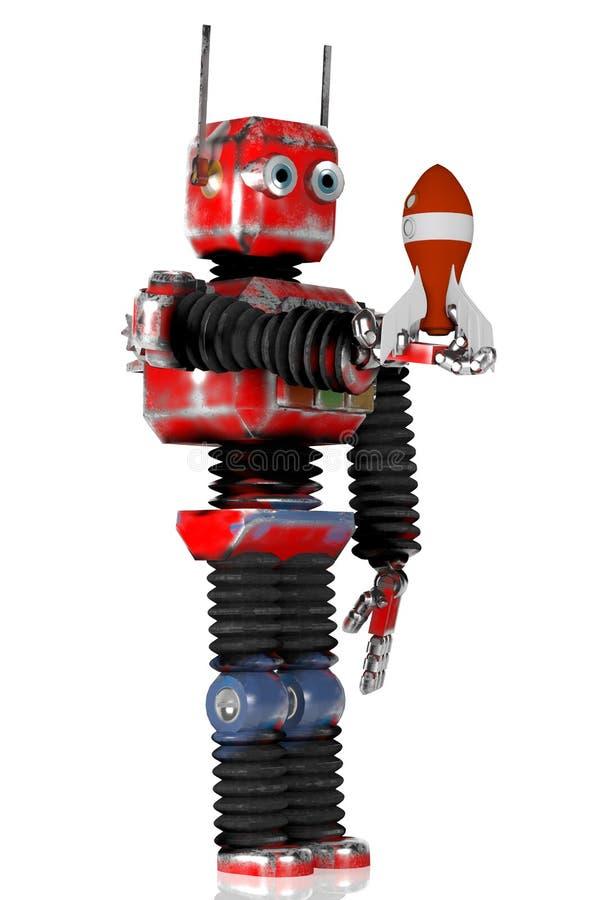 Ретро робот с ракетой, представляет, 3d иллюстрация вектора