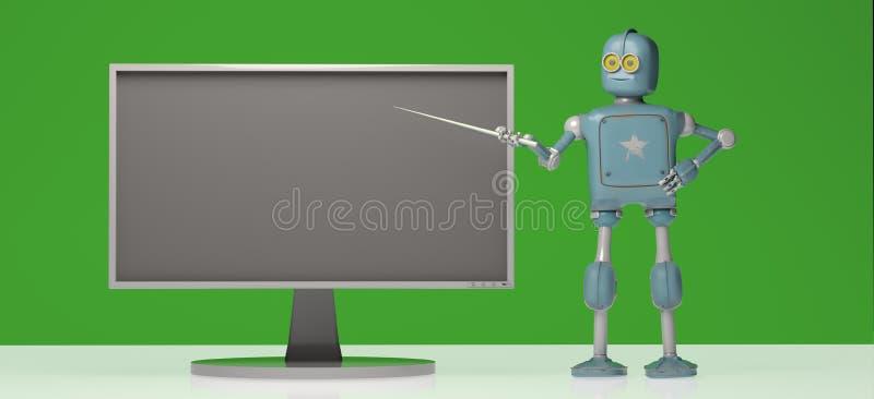 Ретро робот с ручкой указателя на зеленой предпосылке illustrat 3d бесплатная иллюстрация