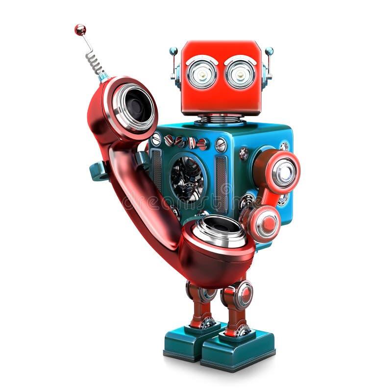 Ретро робот с трубкой телефона изолировано Содержит путь клиппирования иллюстрация вектора