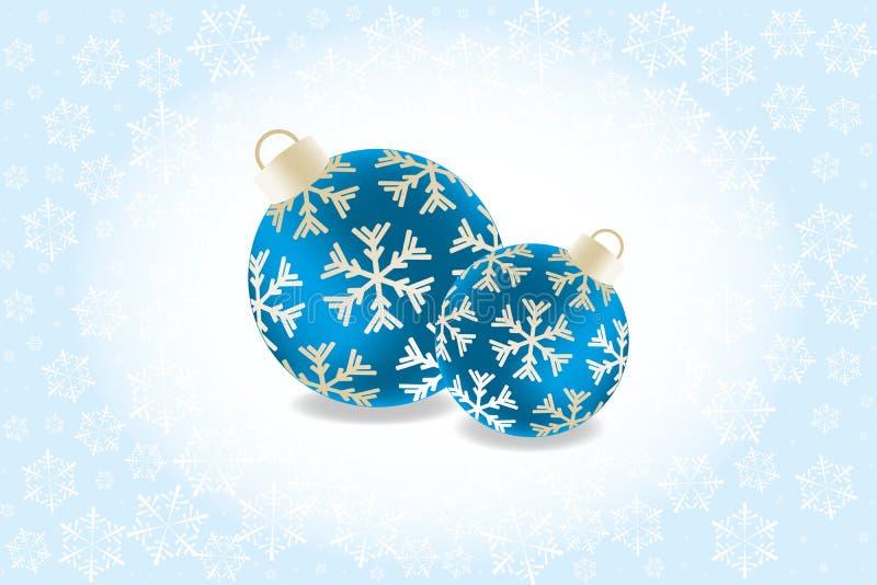 Ретро рождественская открытка с 2 безделушками обрамленными снежинками на белизне к свет-голубой предпосылке и без текста бесплатная иллюстрация