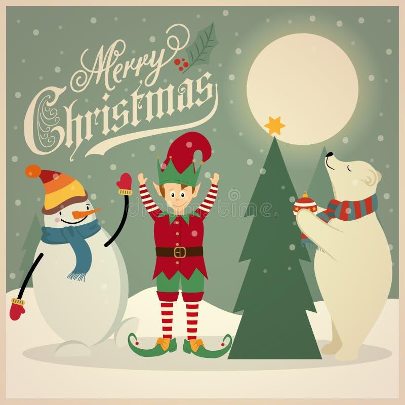 Ретро рождественская открытка с полярным медведем, эльф и снеговик которая украшают иллюстрация штока