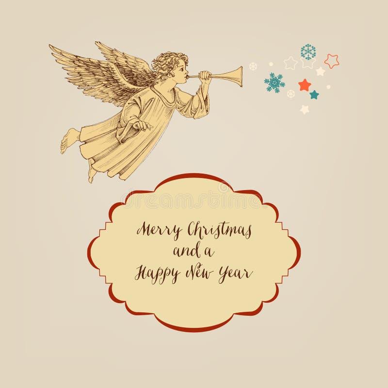 Ретро рождественская открытка иллюстрация штока