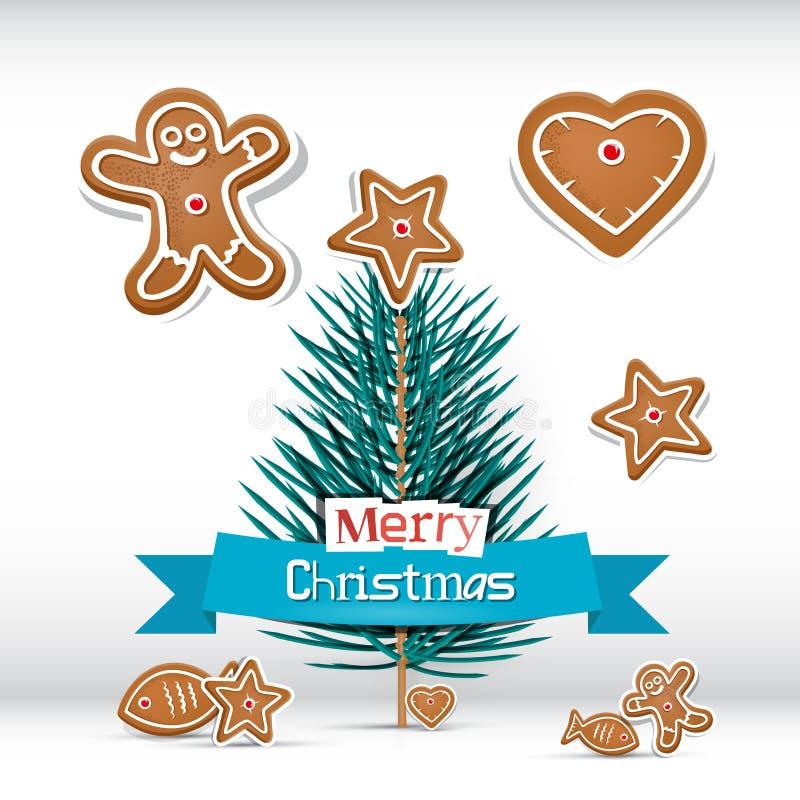 Ретро рождественская открытка вектора с ветвью - деревом иллюстрация штока