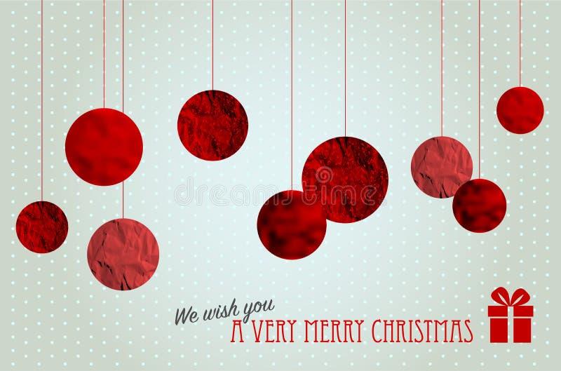 Ретро рождественская открытка с абстрактными шариками рождества иллюстрация штока