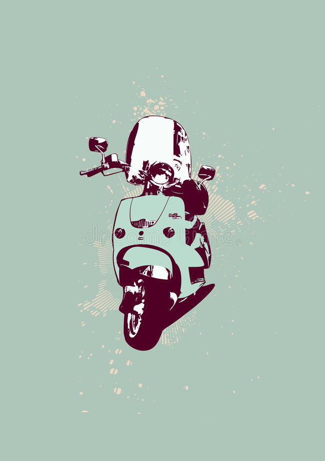 Ретро самокат бесплатная иллюстрация
