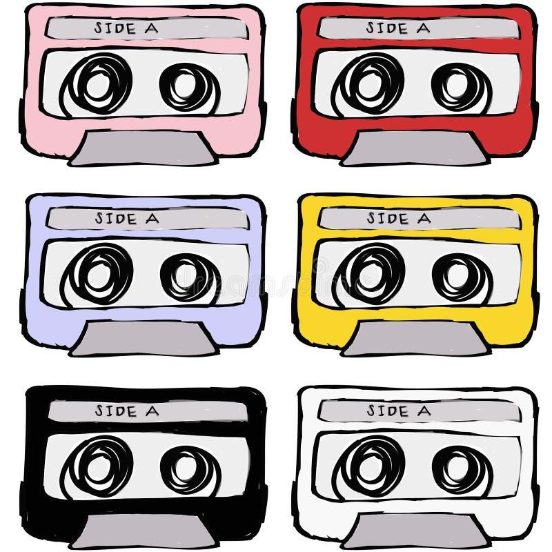 Ретро сбор винограда ленты кассеты иллюстрация штока