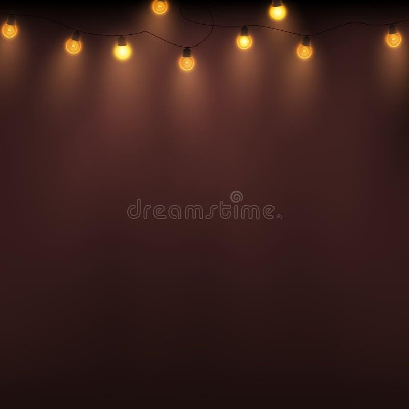Ретро света рождества, гирлянда вектора на абстрактной предпосылке бесплатная иллюстрация