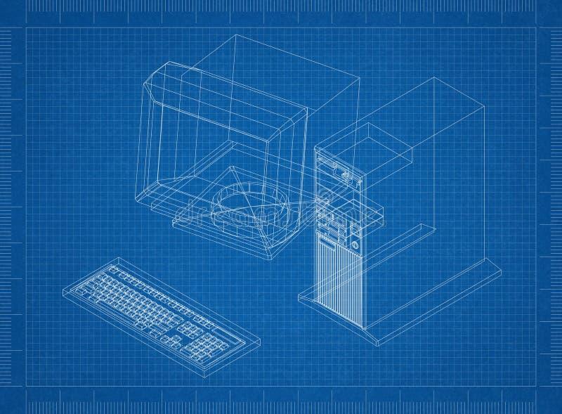 Ретро светокопия архитектора компьютера бесплатная иллюстрация