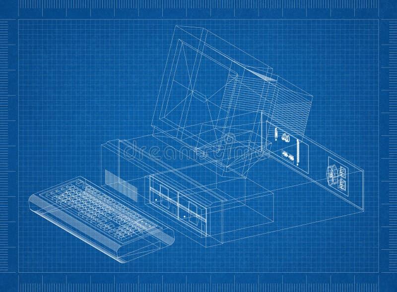 Ретро светокопия архитектора компьютера иллюстрация штока