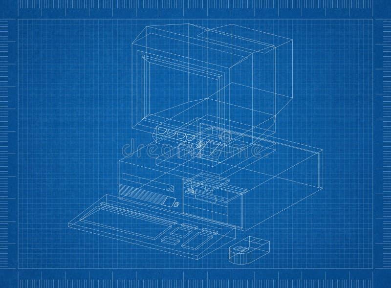 Ретро светокопия архитектора компьютера иллюстрация вектора