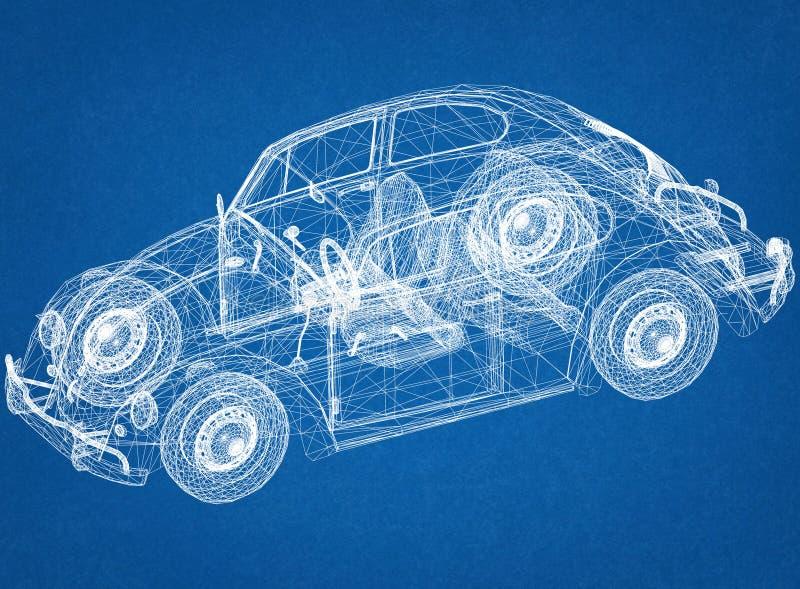 Ретро светокопия архитектора концепции автомобиля стоковые фотографии rf