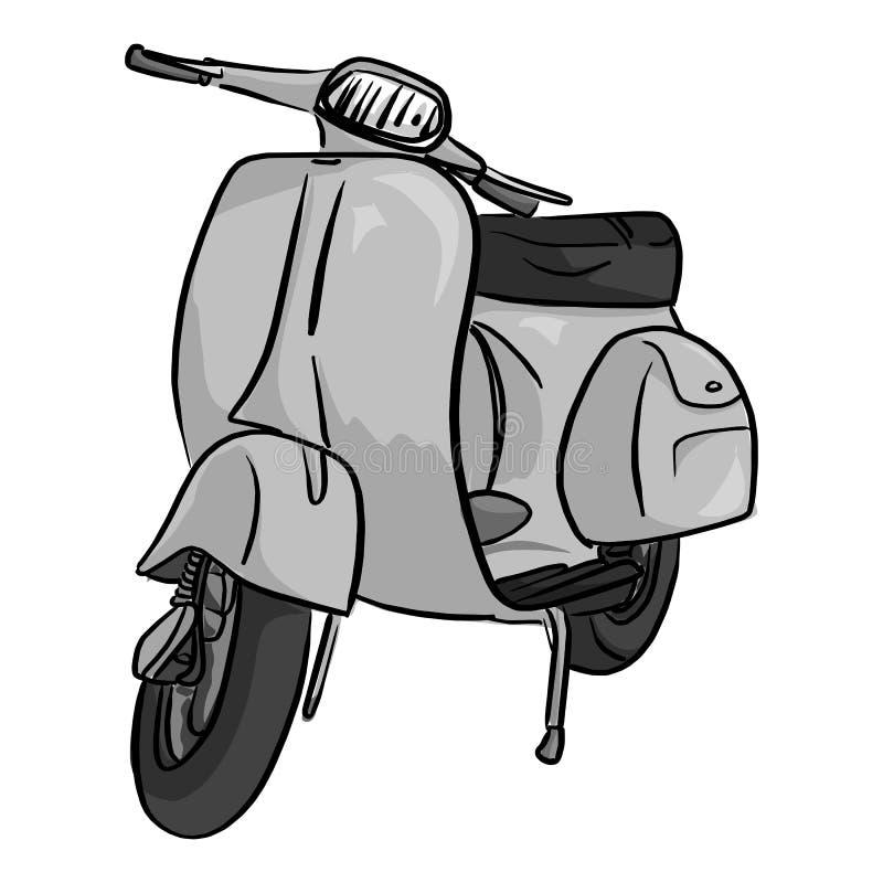 Ретро серая рука dra doodle эскиза иллюстрации вектора мотоцикла иллюстрация штока