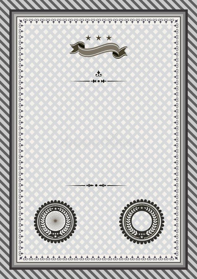 Ретро сертификат шаблона с примером уплотнений стоковое изображение rf