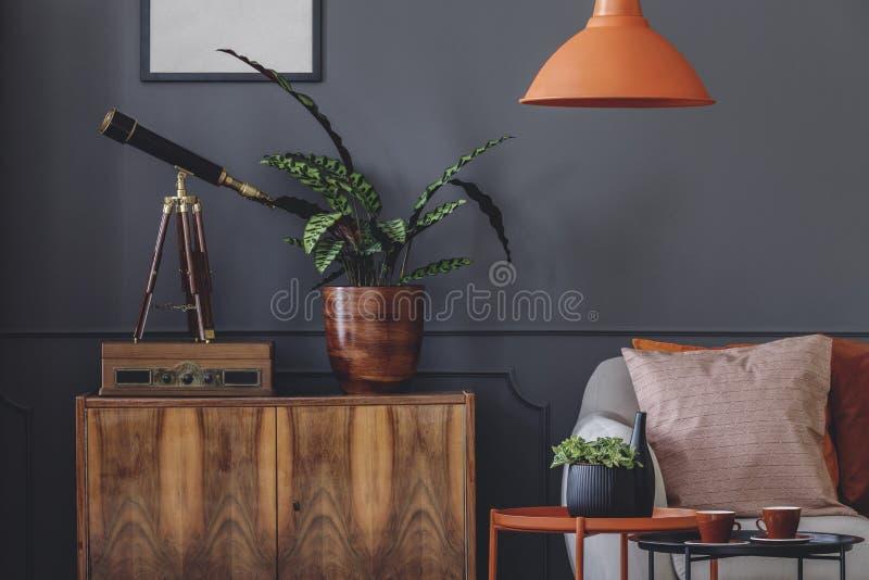 Ретро серый интерьер живущей комнаты стоковое изображение