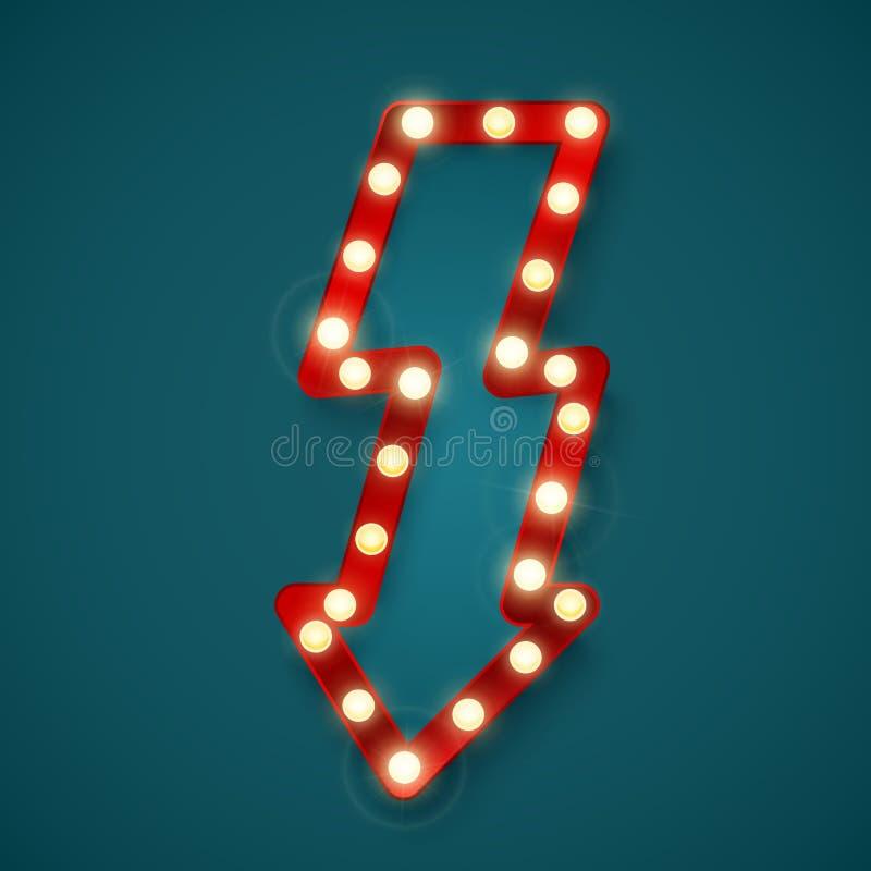Ретро сияющее знамя стрелки Реклама подписывает внутри казино Винтажная афиша или яркий шильдик r иллюстрация штока