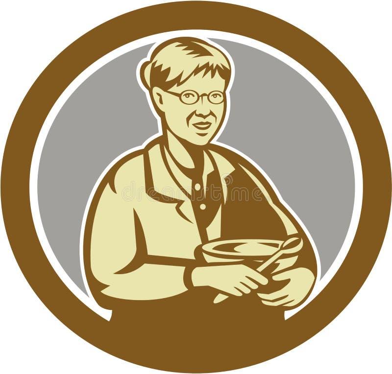 Ретро смешивая шара кашевара бабушки овальное иллюстрация штока