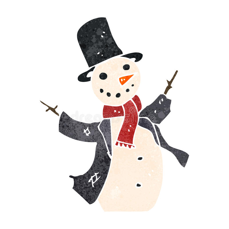 ретро снеговик шаржа бесплатная иллюстрация