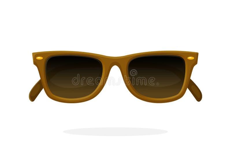 Ретро солнечные очки с рамками рожк-снабженными ободком коричневым цветом иллюстрация штока