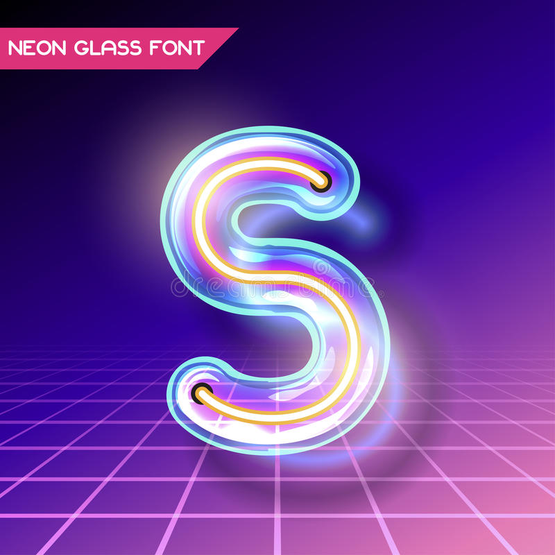 Ретро стеклянный неоновый шрифт бесплатная иллюстрация