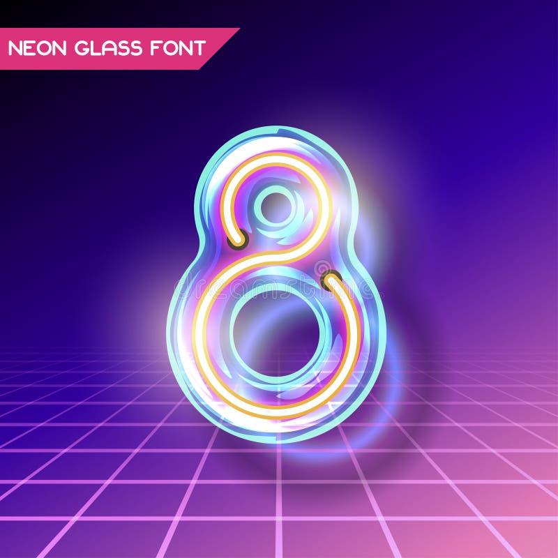 Ретро стеклянный неоновый шрифт иллюстрация вектора
