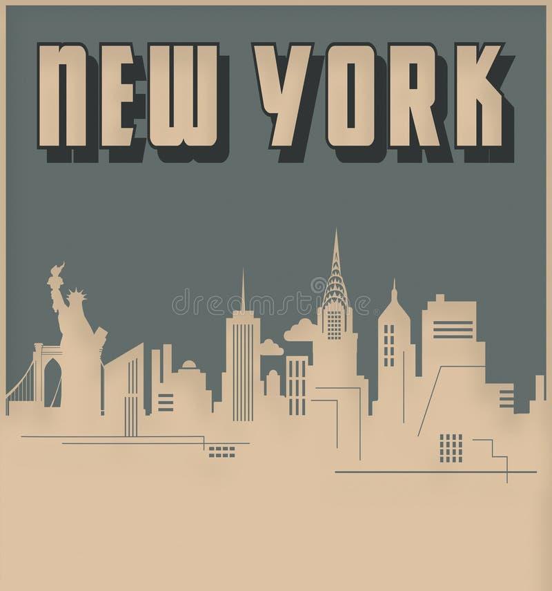 Ретро стиля стиля Арт Деко горизонта Нью-Йорка винтажное иллюстрация штока