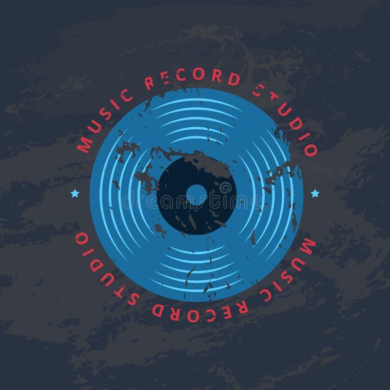 Ретро студия показателя звука, магазин музыки винила, логотип клуба, значок с показателем винила иллюстрация вектора