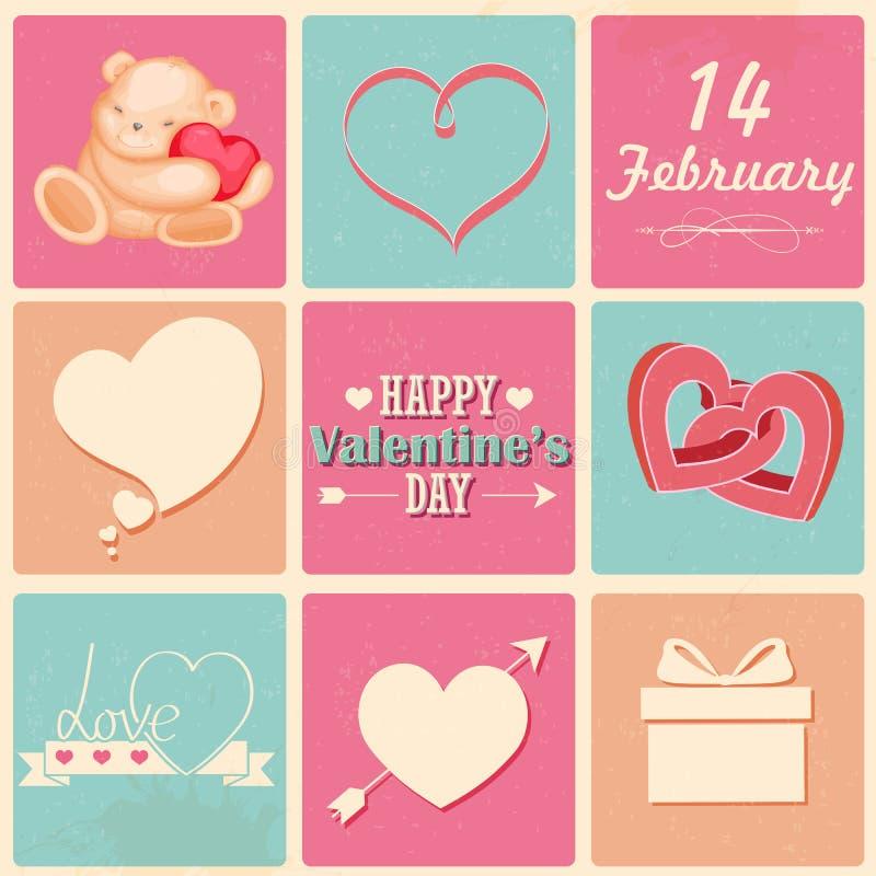Ретро счастливая предпосылка дня валентинок иллюстрация штока