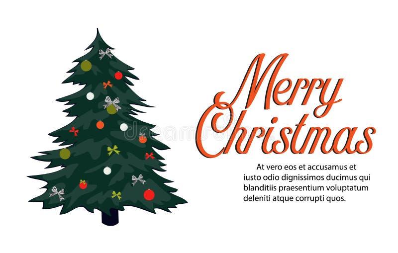 Ретро с Рождеством Христовым поздравительная открытка Винтажное знамя зимнего отдыха Плакат старой школы при вечнозеленое дерево  иллюстрация вектора