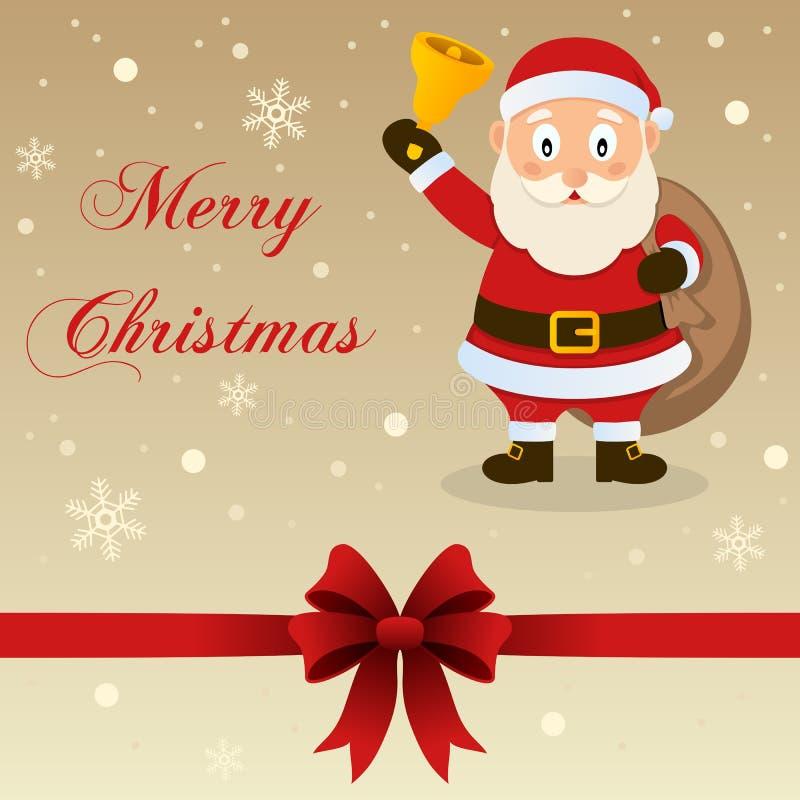 Ретро с Рождеством Христовым рождественская открытка Санта Клаус бесплатная иллюстрация