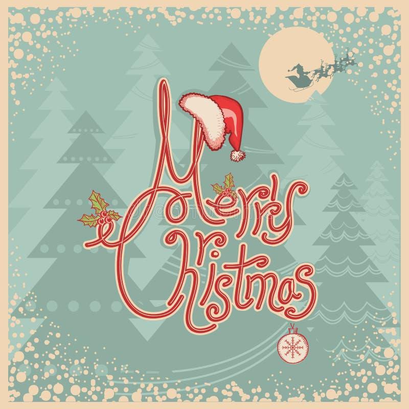 Ретро с Рождеством Христовым рождественская открытка с текстом. Год сбора винограда приветствует иллюстрация штока
