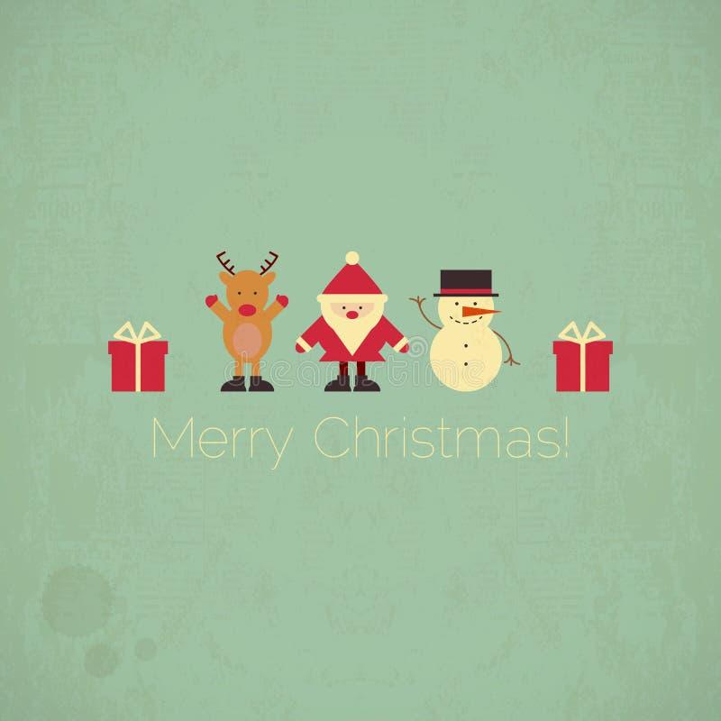 Ретро с Рождеством Христовым рождественская открытка иллюстрация штока