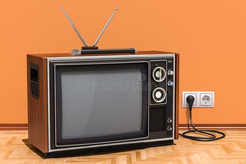 Ретро телевизор в комнате на деревянном поле, переводе 3D иллюстрация штока