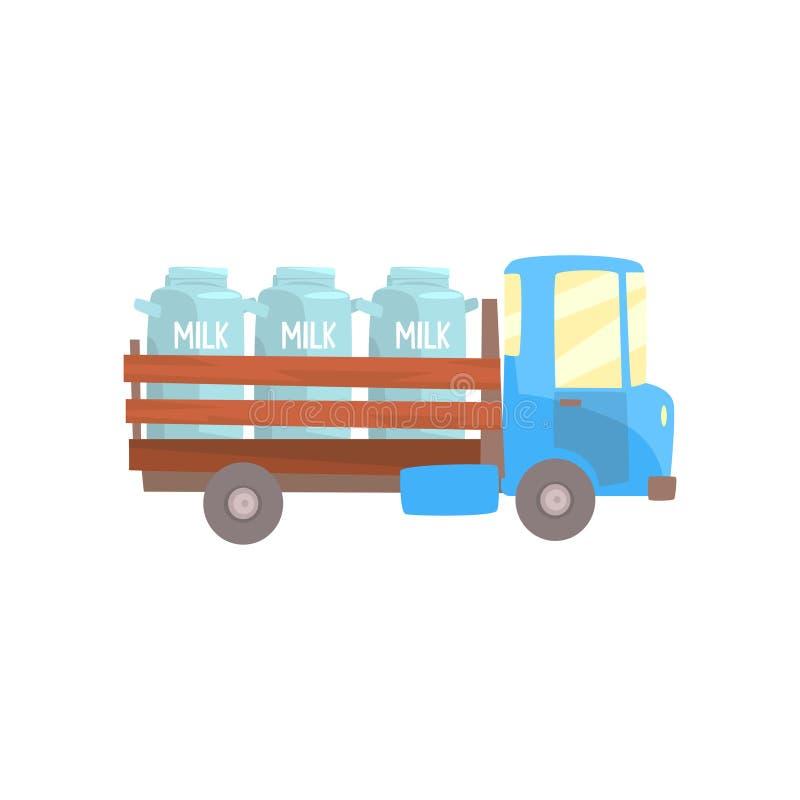 Ретро тележка, поставка и транспорт фермера молока шаржа молока vector иллюстрация иллюстрация вектора