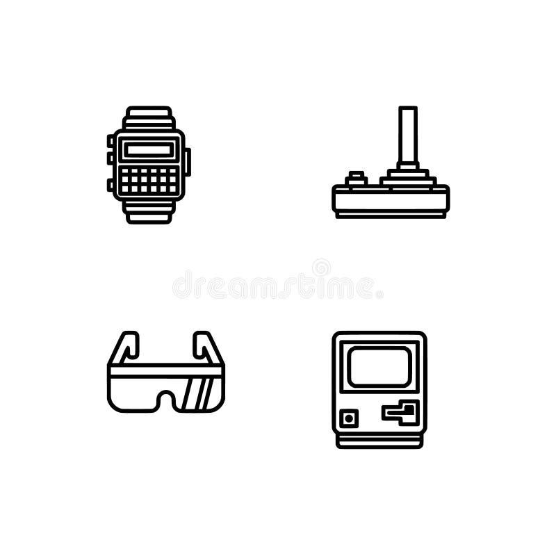 Ретро техник и gadets Установите формат вектора EPS 10 значка плана Черные профессионального пиксела совершенные, белые значки оп бесплатная иллюстрация