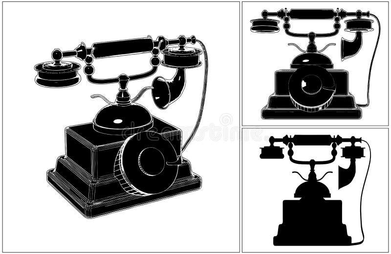 Ретро телефон изолированный на белом векторе иллюстрация вектора