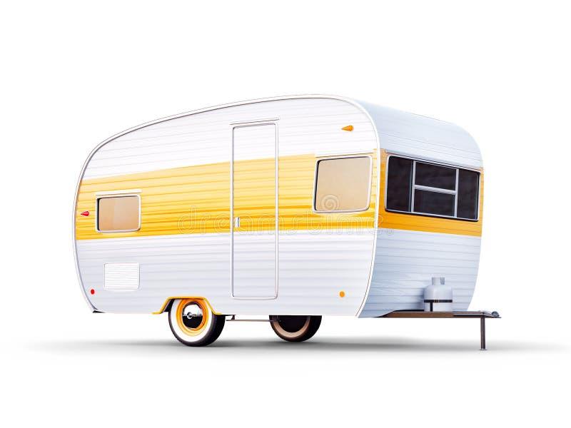 Ретро трейлер isolaten на белизне Необыкновенная иллюстрация 3d классического каравана Располагающся лагерем и путешествующ конце иллюстрация вектора