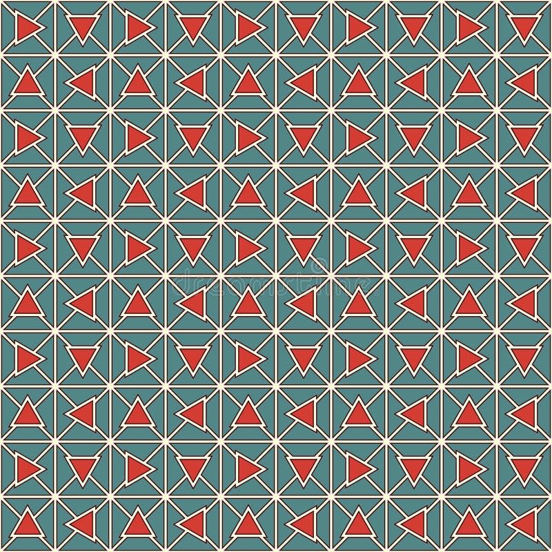 Ретро треугольники цвета и цепь блоков резюмируют предпосылку Обои мозаики Безшовная картина с геометрическим орнаментом иллюстрация вектора