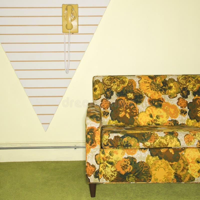 ретро усаживание комнаты стоковые фотографии rf