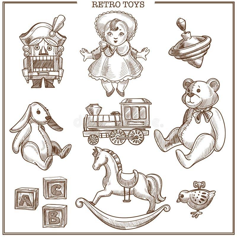 Ретро установленные значки вектора собрания эскиза игрушек нарисованные рукой изолированные винтажные иллюстрация штока