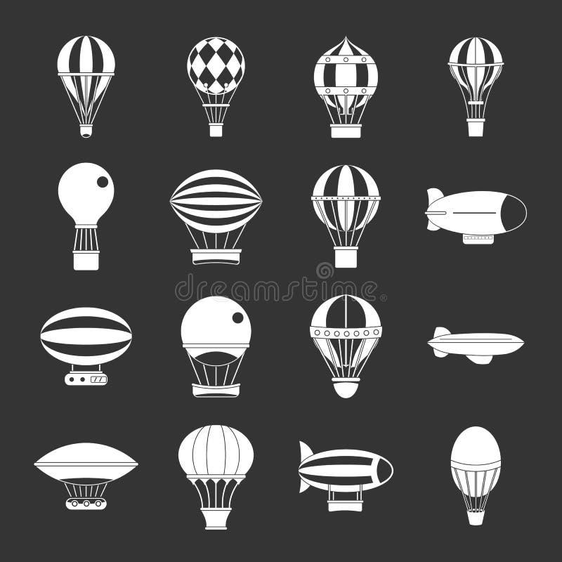 Ретро установленные значки воздушных судн воздушных шаров серыми бесплатная иллюстрация