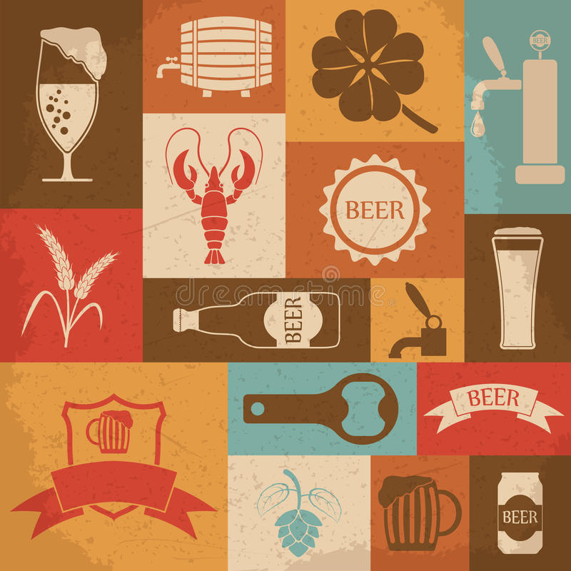 Ретро установленные значки пива также вектор иллюстрации притяжки corel бесплатная иллюстрация