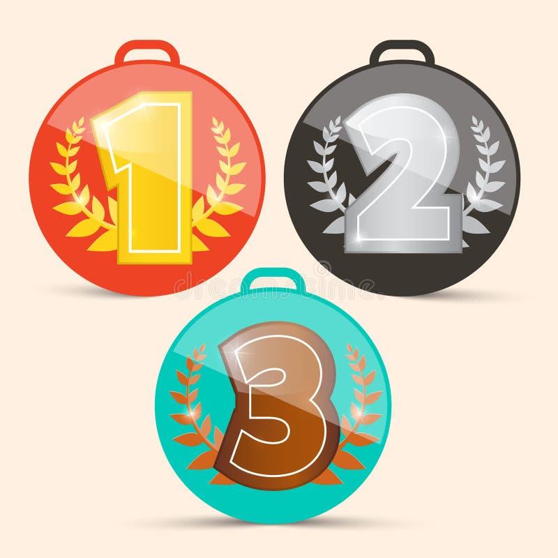 Ретро установленные медали бесплатная иллюстрация