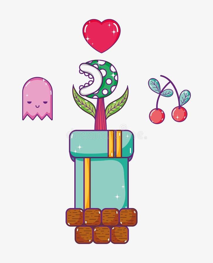 Ретро ушат видеоигры с цветком бесплатная иллюстрация