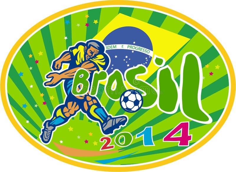Ретро футболиста футбола Бразилии 2014 овальное иллюстрация штока