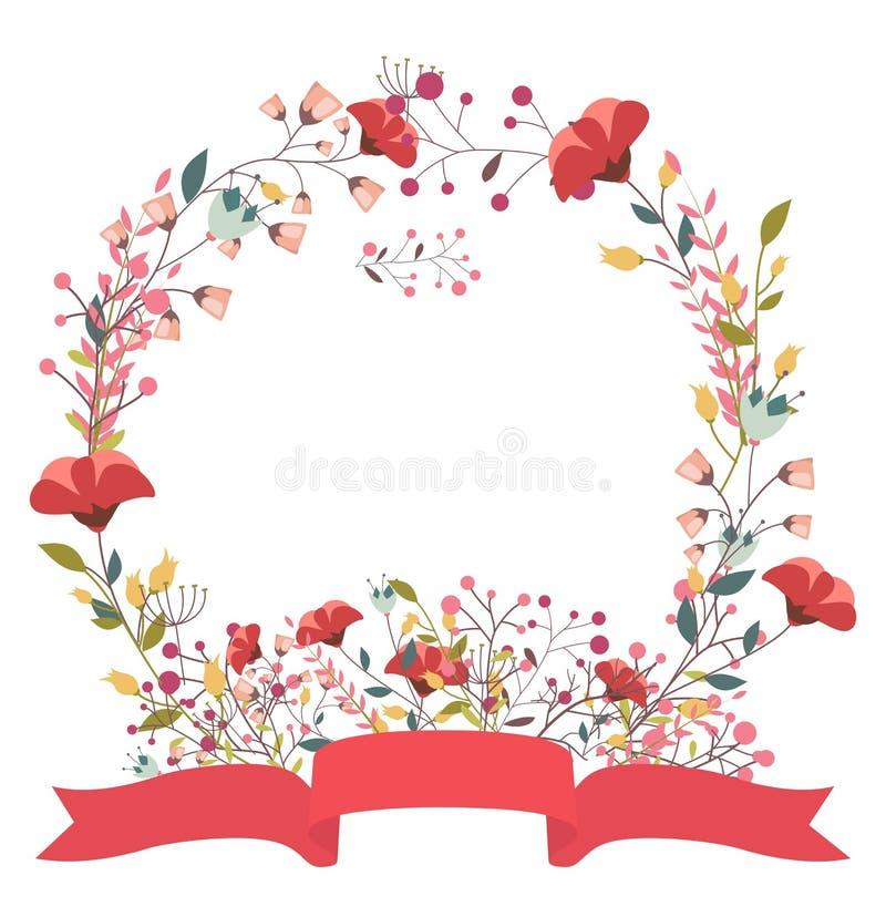 Ретро флористическая рамка и лента бесплатная иллюстрация