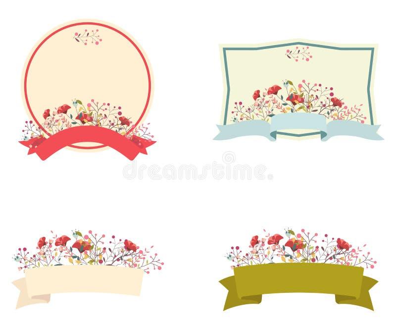 Ретро флористический комплект рамки и ленты бесплатная иллюстрация