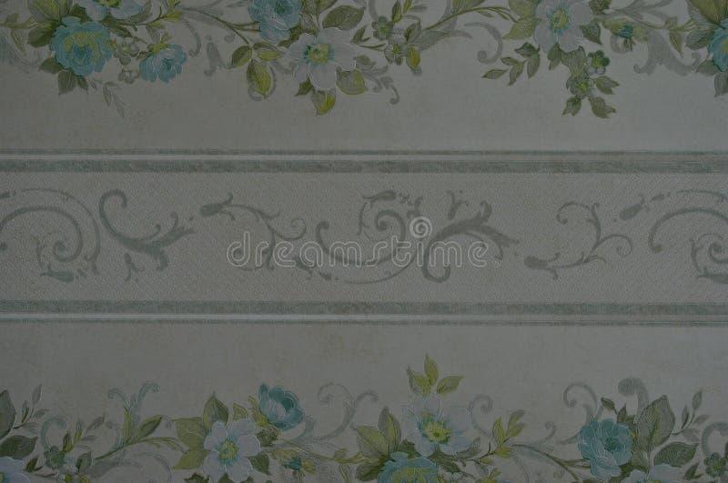 Ретро цветки и предпосылка обоев twirls стоковые изображения rf