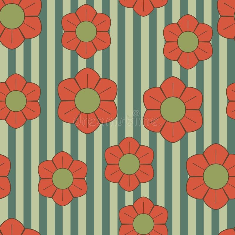 ретро цветков зеленое красное иллюстрация вектора